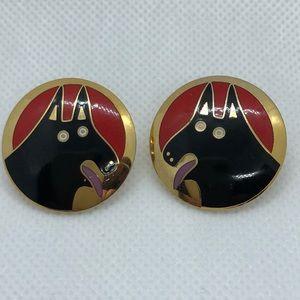 VTG Laurel Burch Colorful Basso Dog Earrings